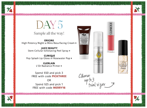 Sephora Canada Merry Mysteries 2018 Canadian Daily Free Item Freebie Freebies Promo Code Coupon Codes Christmas Holiday Beauty Insider BI VIB Rouge Bonus Offer Free Deluxe Sample Samples Mini Mini Day 5 Origins Juice Beauty Guerlain Clinique - Glossense