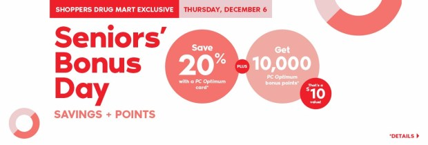 Shoppers Drug Mart Canada SDM Beauty Boutique Seniors Bonus Day December 6 2018 PC Optimum Points Save Canadian Sale - Glossense