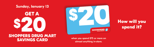 Shoppers Drug Mart Beauty Boutique SDM Canada Canadian In-store January 13 2019 $20 dollar Savings Card Offer - Glossense