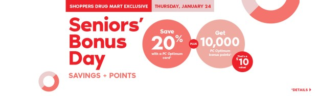 Shoppers Drug Mart Canada SDM Beauty Boutique Seniors Bonus Day January 24 2019 PC Optimum Points Save Canadian Sale - Glossense