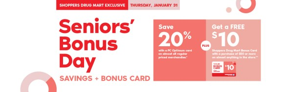 Shoppers Drug Mart Canada SDM Beauty Boutique Seniors Bonus Day January 31 2019 PC Optimum Points Save Canadian Sale Bonus Card - Glossense