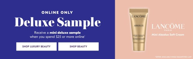Shoppers Drug Mart SDM Beauty Boutique Canada 2019 Canadian Freebies Deals GWP Free Lancome Absolue Soft Cream Mini Deluxe Sample - Glossense