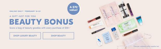 Shoppers Drug Mart SDM Canada Beauty Boutique Canadian Beauty Bonus GWP Free Gift Set with Purchase Free Bag of Beauty Goodies Free Goody Bag - Glossense