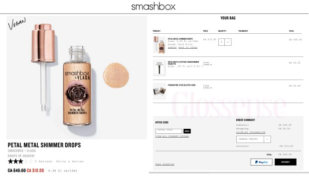 Smashbox Cosmetics Canada Vlada Petal Metal Shimmer Drops Glitz Gold Hot Canadian Deal Sale Promo Codes Coupon Code Offer - Glossense