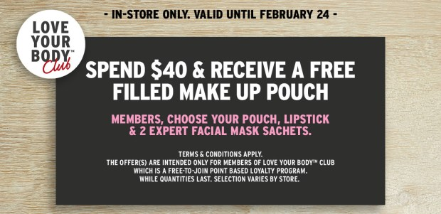 THE BODY SHOP CANADA VALENTINE'S PROMO: Free Makeup Pouch