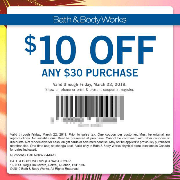 Bath and Body Works Canada Canadian Coupon 10 Off 30 Spring 2019 National Fragrance Day Mobile Print Printable Coupons March 2019 - Glossense