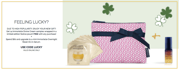 L'Occitane Canada St. Patrick's Day 2019 Promo Code GWP Gift with Purchase Free Immortelle Divine Cream Sample and Pouch Bag Set Plus Mini Deluxe Immortelle Overnight Reset Oil-in-Serum - Glossense