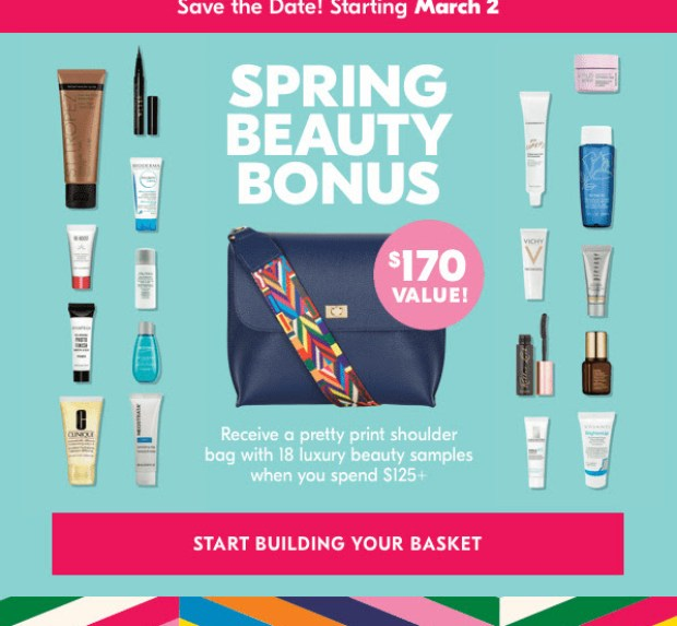 Shoppers Drug Mart Canada SDM Beauty Boutique Canadian Spring 2019 Beauty Bonus March 2 2019 Free Shoulder Bag GWP Free Gift with Purchase Free Deluxe Samples Offer Beauty Freebies - Glossense