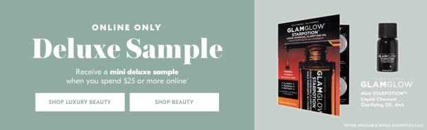 Shoppers Drug Mart SDM Beauty Boutique Canada 2019 Canadian Freebies Deals GWP Free GlamGlow StarPotion Liquid Charcoal Clarifying Oil Skincare Skin Care Mini Deluxe Sample - Glossense