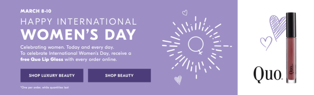 Shoppers Drug Mart SDM Beauty Boutique Canada International Women's Day 2019 IWD2019 Canadian Freebies Deals GWP Free Quo Lip Gloss Full size Mini Deluxe Sample - Glossense