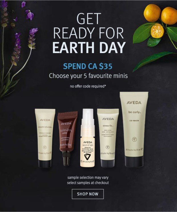 Aveda Canada Canadian Earth Day 2019 Beauty Offer 5 Free Minis Deluxe Trial Samples Earth Month GWP Gift - Glossense