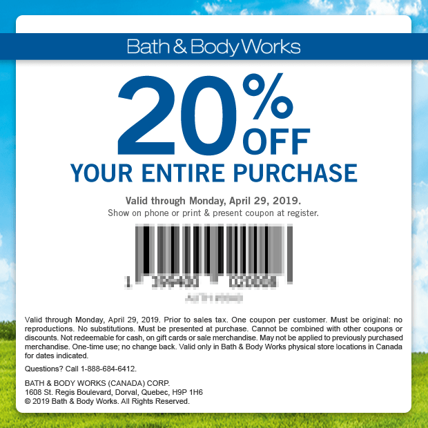 Bath and Body Works Canada Canadian Coupon 20 Percent Off Spring 2019 Mobile Print Printable Coupons April 2019 - Glossense