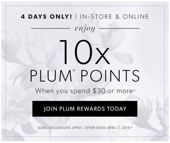 Indigo Chapters Canada 10x Plum Points Canadian Rewards Perks Loyalty Program Beauty April 2019 - Glossense