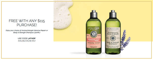 L'Occitane Canada Canadian GWP Promo Code Coupon Codes Free Aromachologie Shampoo of Choice Beauty Gift April Spring Rewards - Glossense