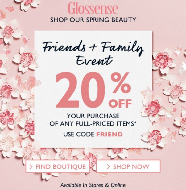 L'Occitane en Provence Canada Spring Beauty Friends and Family Sale Event April 2019 Canadian Deals Promos Promotion Coupon Codes Promo Code Offer FRIEND - Glossense