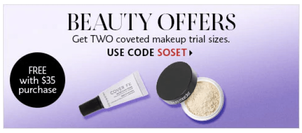 Sephora Canada Canadian Promo Codes Coupon Code Beauty Offer Two Free Makeup Setting Samples Deluxe Mini Trial size Travel Sample Cover FX Primer Laura Mercier Setting Powder GWP - Glossense