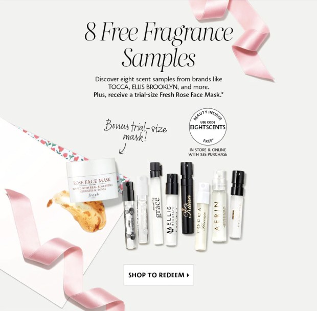 Sephora Canada Mother's Day Promotion Canadian GWP Freebies Free Fragrance Perfume Sampler Set Samples Fresh Rose Mask Deluxe Mini Trial Sample Promo Code Coupon Codes Spring April 2019 - Glossense