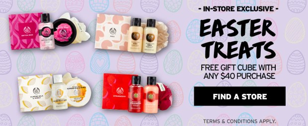 The Body Shop Canada Canadian Easter Treats In-store Exclusive Free Gift Cube with Purchase Combine Mother's Day Tote Beauty Offer - Glossense