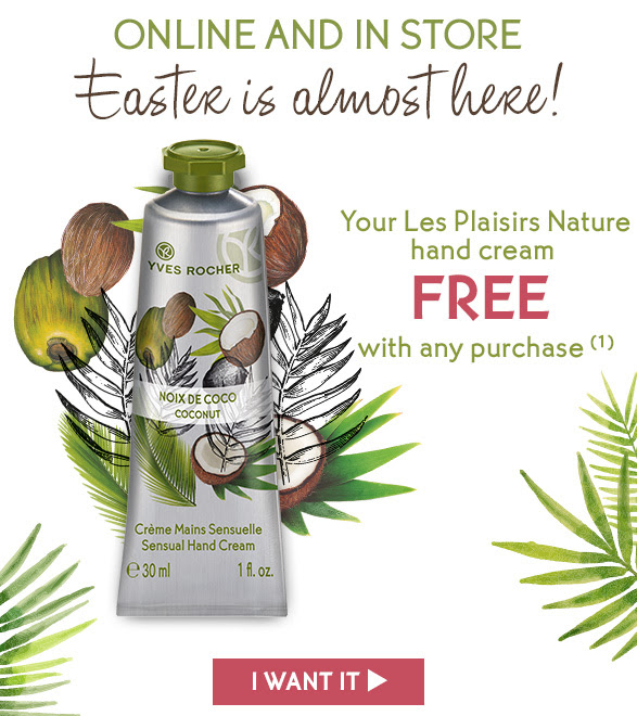 Yves Rocher Canada GWP Canadian Beauty Offers Free Coconut Hand Cream Easter 2019 Freebies - Glossense