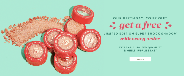 ColourPop Cosmetics Free Birthday Gift Canadian Freebies Beauty GWP Free Super Shock Shadow Birthday Treat Watermelon Coral May 2019 - Glossense