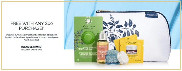 L'Occitane en Provence Canada Free May 2019 Gift Rewards Free Beauty on the Go Pampering Gift Pamper with Purchase 2019 Canadian May GWP Promo Coupon Code - Glossense