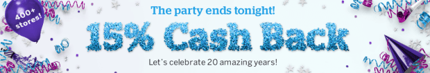 Rakuten Canada Canadian Cash Back Birthday Event Free Money 400 stores 20 Years May 2019 - Glossense