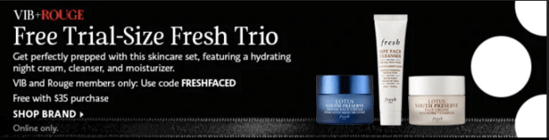 Sephora Canada Beauty Insider Gift March 2019 Rouge VIB Free Canadian Fresh Trio Skincare Set Night Cream Cleanser Moisturizer GWP Gift with Purchase Promo Code Coupon Codes - Glossense