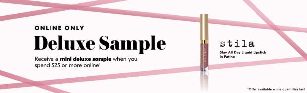Shoppers Drug Mart SDM Beauty Boutique Canada 2019 Canadian Freebies Deals GWP Free Stila Stay All Day Patina Liquid Lipstick Mini Deluxe Makeup Sample - Glossense