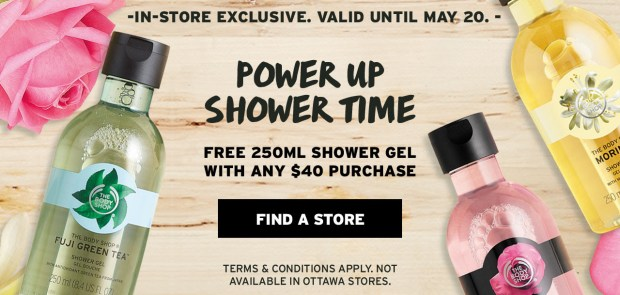 The Body Shop Canada Canadian Freebies Deals GWP May 2-4 Weekend Free Showel Gel with Purchase May 2019 - Glossense