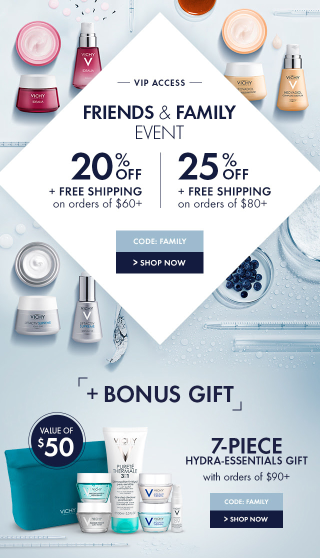 picture about Vichy Coupon Printable titled VICHY CANADA VIP Attain: Pals Household Occasion; Help you save 20