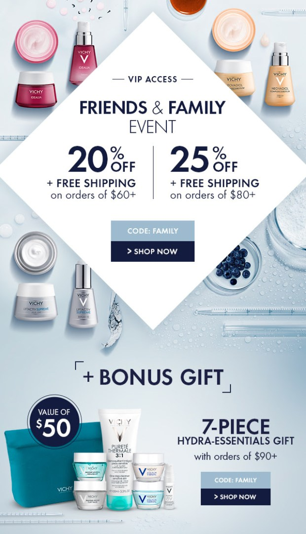 Vichy Canada Friends and Family Sale Canadian Event Deals Spring Summer May 2019 VIP Access Promo Code Coupon Codes Beauty Offer - Glossense