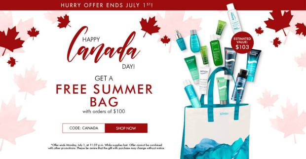 Biotherm Canada Free Summer Tote Bag Filled with 13 Travel Deluxe Sample Skincare Products Canada Day 2019 Canadian Promo Code GWP Offer - Glossense