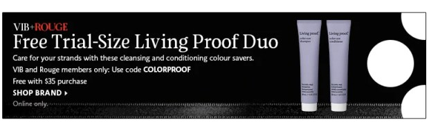 Sephora Canada Beauty Insider Gift June 2019 Rouge VIB Free Canadian Living Proof Duo Hair Care GWP Gift with Purchase Promo Code Coupon Codes Beauty Offer Reward Perks - Glossense