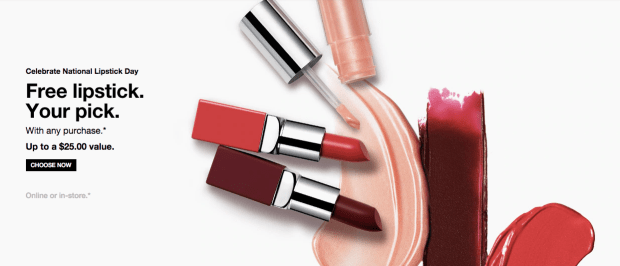 Clinique Canada Free Lipstick National Lipstick Day July 29 Canadian GWP Free Gift with Purchase Freebie Beauty Offer - Glossense