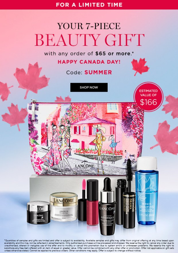 Lancome Canada Day GWP Free Gift with Purchase Summer Bag Freebies Beauty Offer July 1 2019 Canadian Deals Promo Code Coupon Codes - Glossense