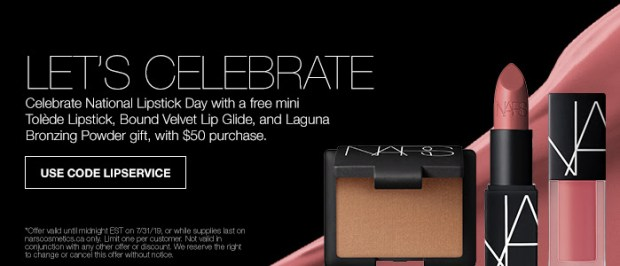 Nars Cosmetics Canada Free Lip Service Gift Set National Lipstick Day July 2019 Canadian GWP Coupon Code Promo Codes - Glossense