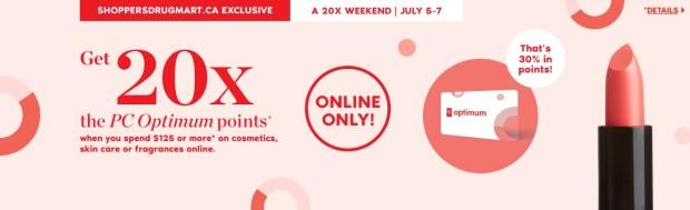 Shoppers Drug Mart Canada SDM Canadian Beauty Boutique PC Optimum Offer Bonus Beauty Get Rewarded Free PC Points 20x 125 July 5 7 2019 - Glossense