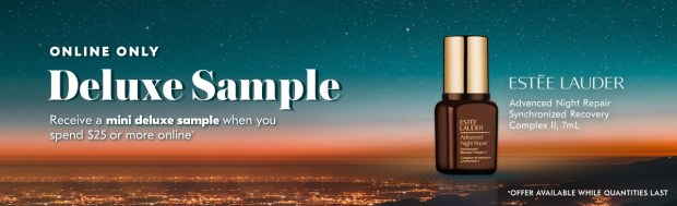 Shoppers Drug Mart SDM Beauty Boutique Canada 2019 Canadian Freebies Deals GWP Free Estee Lauder Advanced Night Repair Synchronized Recovery Complex Skincare Mini Deluxe Sample - Glossense