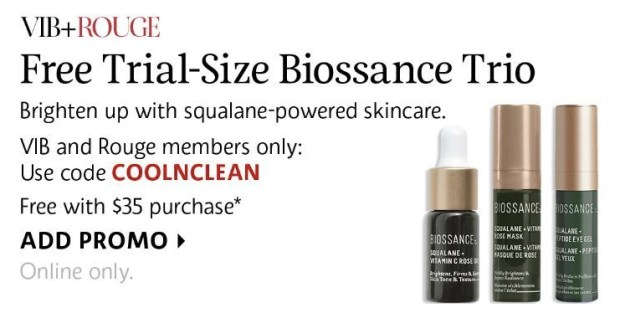 Sephora Canada Beauty Insider Gift September October 2019 Rouge VIB Free Canadian Biossance Trio Skincare GWP Gift with Purchase Promo Code Coupon Codes Beauty Offer Reward Perks - Glossense