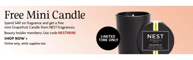 Sephora Canada Canadian Freebie Freebies Deals Free Nest Fragrances Grapefruit Votive Candle Fragrance Purchase GWP Gift - Glossense