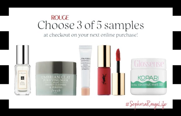 Sephora Canada RougeLife Rouge Life Canadian Promo Code Coupon Codes Rouge Beauty Insider Member Perks Pick 3 Free Samples Freebies GWP Gift with Purchase September 2019 - Glossense