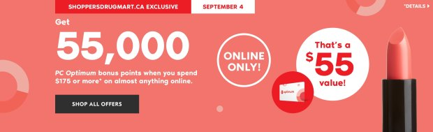 Shoppers Drug Mart Canada Beauty Boutique Canadian SDM Exclusive PC Optimum Loyalty Rewards Program PC Optimum Bonus Points Promotion Event Shop Luxury Beauty September 4 2019 - Glossense