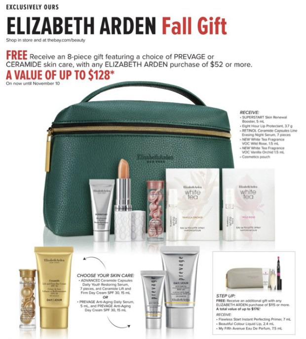 Hudson's Bay HBC The Bay Canada Canadian GWP Beauty Offers Free Elizabeth Arden Gift Gifts with Purchase October 2019 Fall Winter Makeup Tote Bag - Glossense