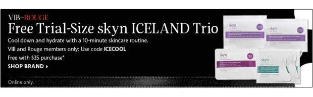 Sephora Canada Beauty Insider Gift October 2019 Rouge VIB Free Canadian Skyn Iceland Skincare 4-pc GWP Gift with Purchase Promo Code Coupon Codes Beauty Offer Reward Perks - Glossense