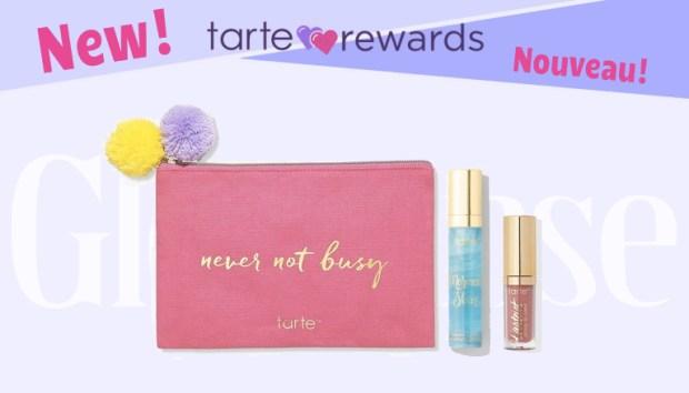 Tarte Cosmetics Canada Reward Shop New Canadian Rewards Loyalty Program Free Makeup Bag Lip Paint Mermaid Skin H2O Serum - Glossense