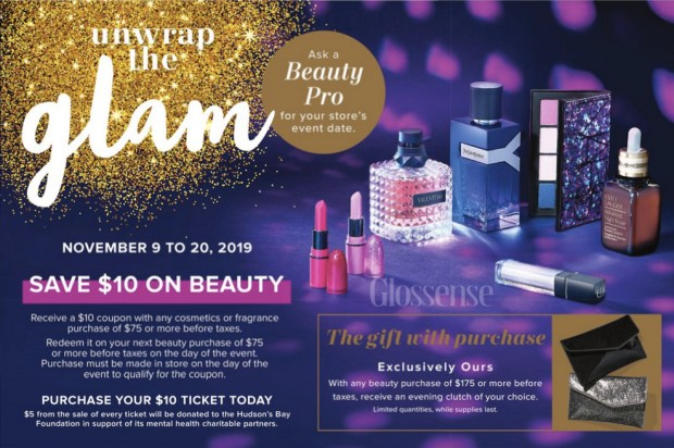 Hudson's Bay Canada Unwrap the Glam Cosmetics Fragrance Winter Gala 2019 Canadian Event Save 10 on Beauty - Glossense