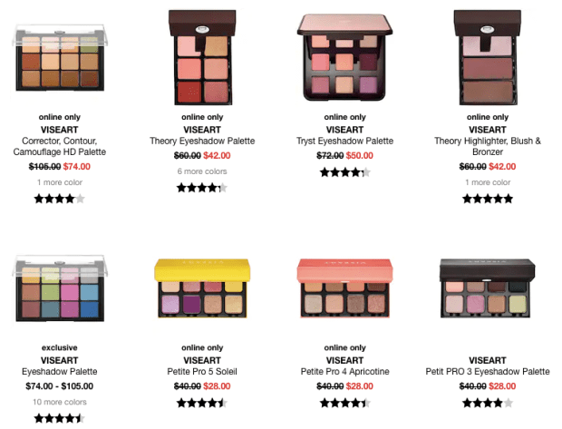 Sephora Canada Cyber Week Hot Fall Winter Holiday 2019 Canadian Sale Save on Viseart Palettes November 2019 Sale Canadian Deals - Glossense
