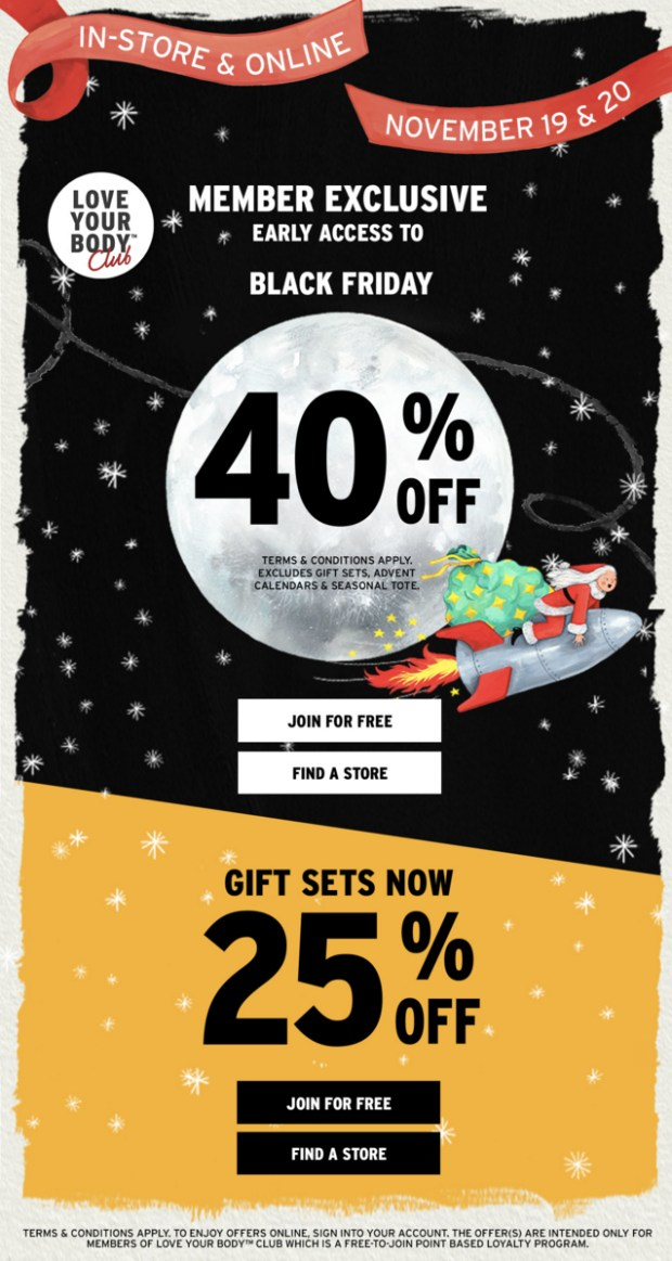 The Body Shop Canada Love Your Body Member Exclusive Early Access Preview Canadian Black Friday Cyber Monday Deals Sale Discount 2019 2020 - Glossense
