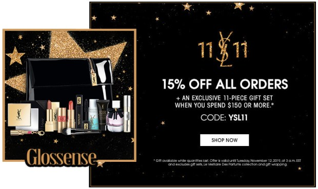 Yves Saint Laurent Canada Singles Day Sale 15 Percent Off Free 11-pc Gift Set 2019 Canadian Deals Promo Code - Glossense