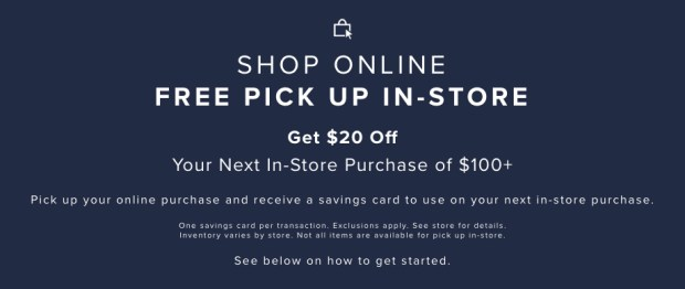 Hudson's Bay Canada Shop Online Pick-up In-store Get 20 Off 100 In-store Savings Card - Glossense